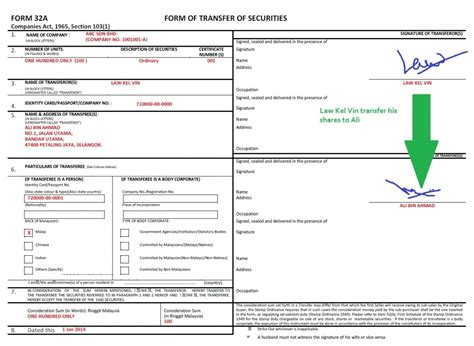 stock transfer form template form 32a transfer form company registration in