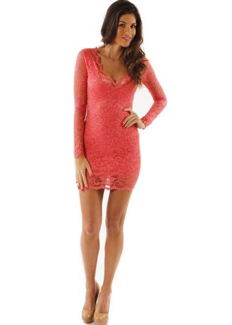 Dres Miny designer lace dress coral lace mini dress lace mini