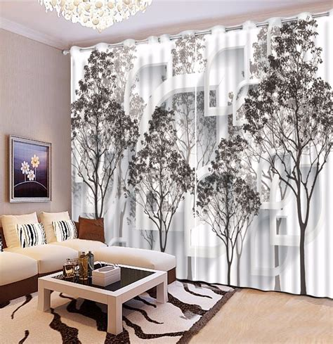 black and white living room curtains black and white tree blackout 3d curtain living room