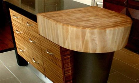 maple butcherblock countertop with arc and bevel cut edge