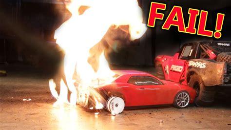 rc dodge hellcat burnout car fail hope   insurance lol youtube