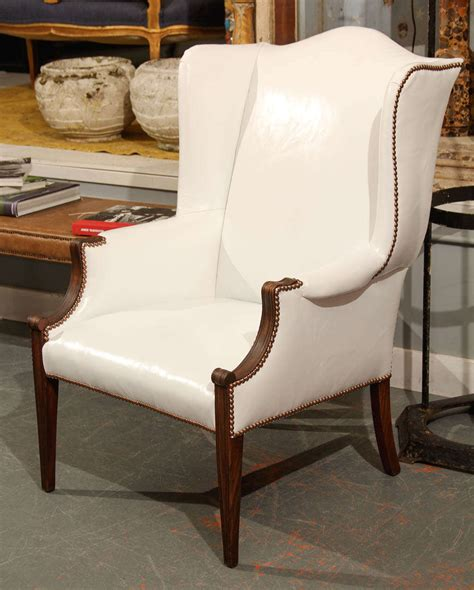white leather wingback chair recliner white leather wingback at 1stdibs