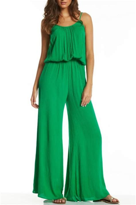 19286 Green Jumpsuit S M L Sale Casual Jumpsuit Elan Jade Jumpsuit From Palm By Glitz Glam