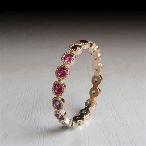 gold eternity ring sapphire ruby citrine emerald