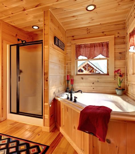 log cabin with bathroom and kitchen jocassee v master bathroom built by blue ridge log cabins