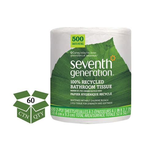 seventh generation bathroom tissue seventh generation 174 100 recycled bathroom tissue 2 ply white 500 sheets jumbo