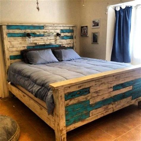 pallet headboard for queen bed 42 diy recycled pallet bed frame designs