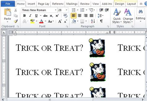 How To Create Halloween Trick Or Treat Labels In Word Label Maker Templates