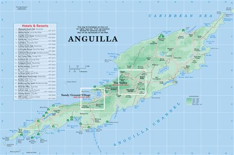 anguilla map map of anguilla from caribbean on line