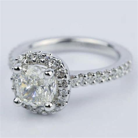 1.31 Carat Cushion Cut Diamond Halo Engagement Ring 1 Carat Cushion Cut Halo Engagement Ring