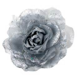 Silver silk rose flower on clip 20cm party decorations and