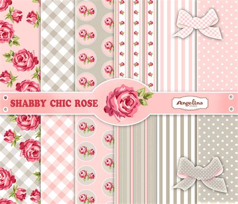 12 shabby chic pink and gray digital paper pack 6 digital