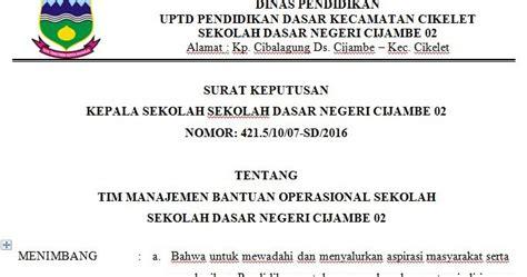 contoh surat keputusan kepala sekolah tentang tim manajemen bantuan