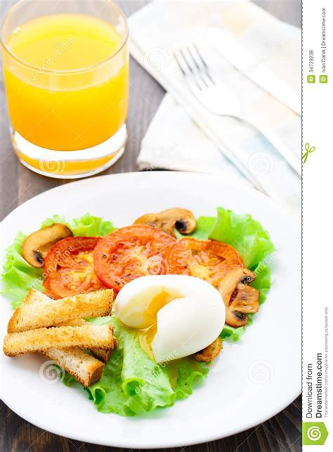 Light Breakfast by Light Breakfast With Soft Egg Tomato And Croutons Royalty