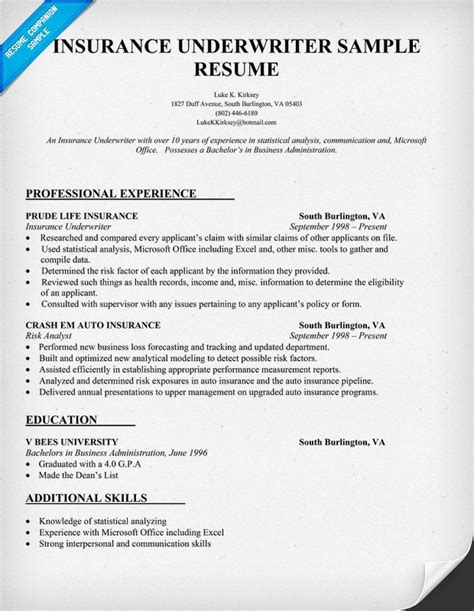 insurance resume exles insurance underwriter resume sle resume sles