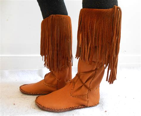 American Handmade Boots - fringe moccasin boots handmade leather moccs