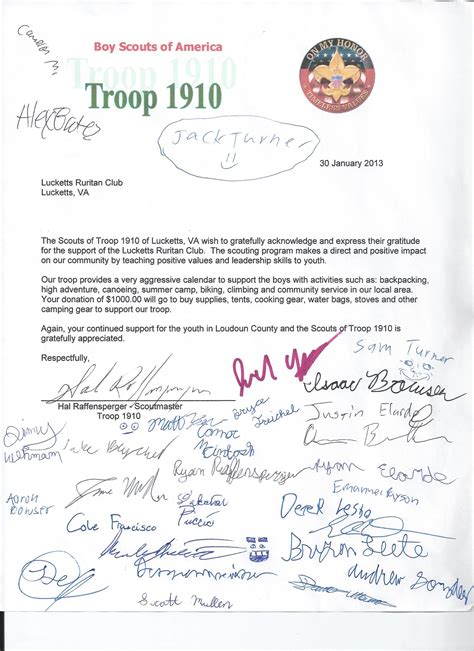 Thank You Letter For Donation To Boy Scouts Philanthropy