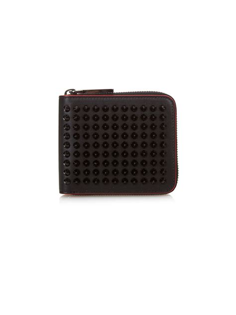 Christian Louboutin Panettone Wallet Black by Christian Louboutin Panettone Spikes Leather Wallet In Black Lyst