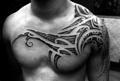 tattoo designs shoulder to chest 80 tribal shoulder tattoos for men masculine design ideas