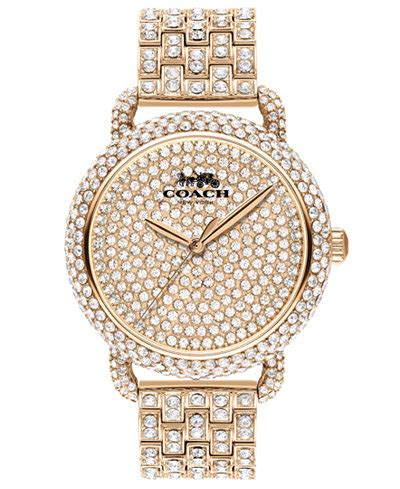 coach womens delancey carnation gold tone pave bracelet  mm watches jewelry