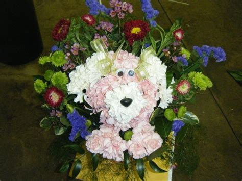 puppy flower arrangement floral arrangement stuff i made