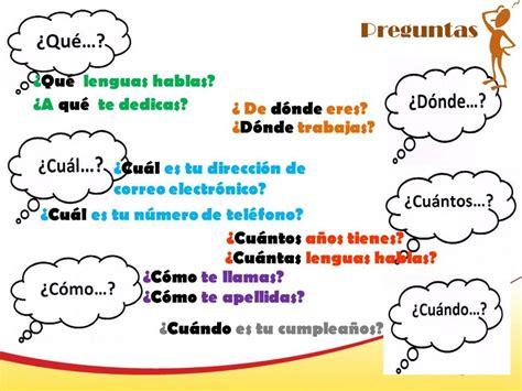 preguntas de español preguntas espa 241 ol pinterest spanish grammar