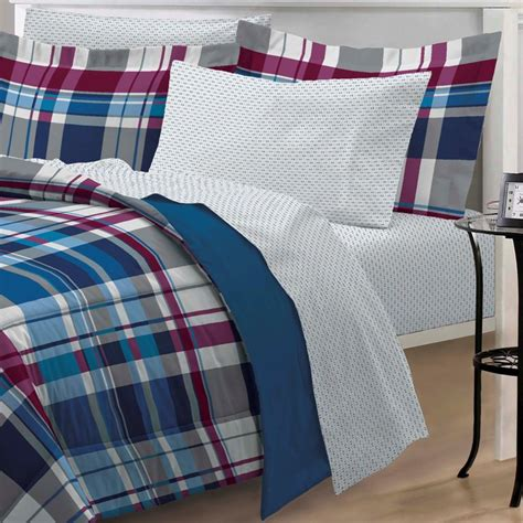 plaid boys bedding new varsity plaid teen boys bedding comforter sheet set