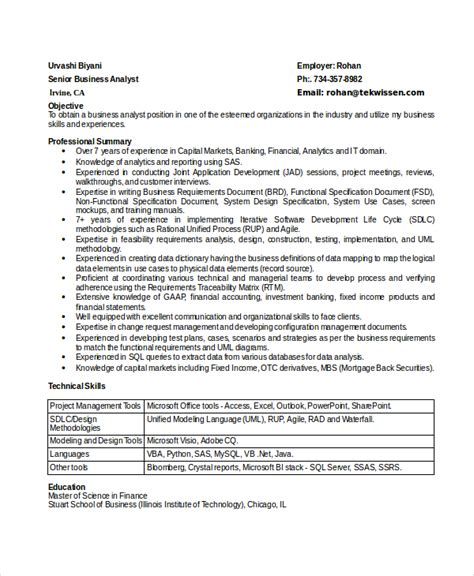 Senior Business Analyst Resume by 8 Business Analyst Resumes Free Sle Exle Format