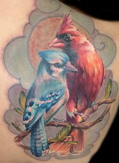 red cardinal tattoo flying cardinal design