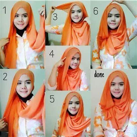 tutorial hijab pashmina wajah oval simple cantik n sehat