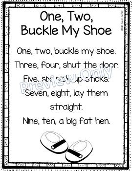 year 1 poetry unit 2 pattern and rhyme one two buckle my shoe printable nursery rhyme poem