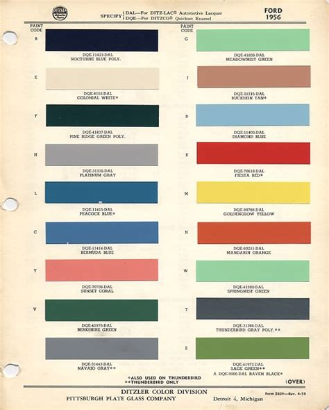 projects 1956 ford sunliner paint color codes and names the h a m b