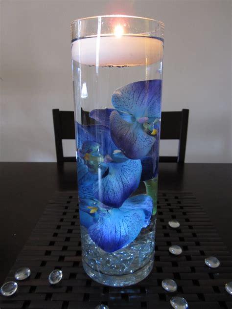 Blue Centerpieces Blue Purple Orchid Floating Candle Wedding Centerpiece