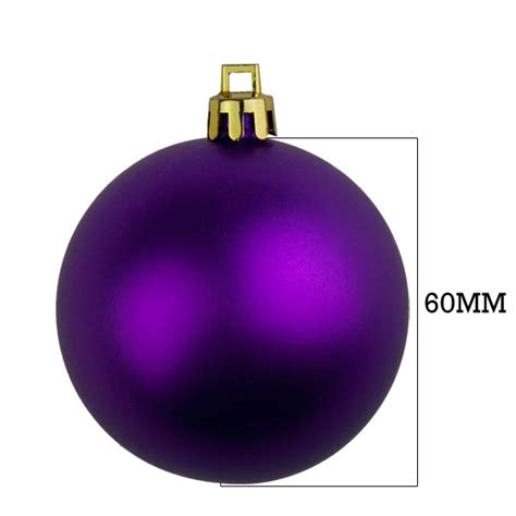 purple shatterproof baubles pack of 18 x 60mm matt