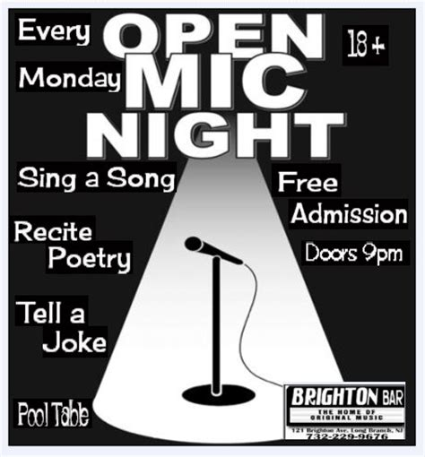 Open Mic Night Flyer 171 The Brighton Bar Open Mic Poster Template