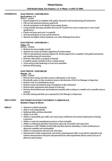 resume for electronic assembler resume ideas