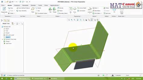 creo flat pattern on drawing ptc creo sheet metal เบ องต น youtube