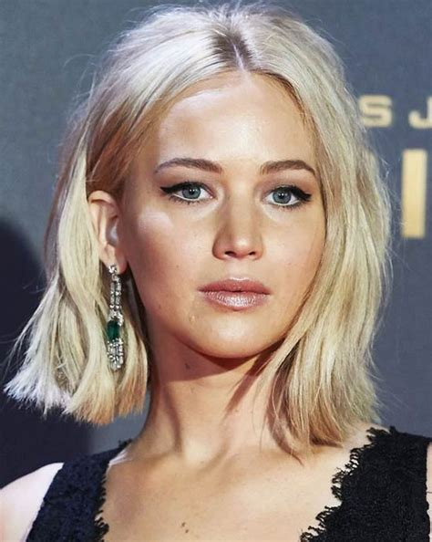 blonde bob centre parting jennifer lawrence bob haircut haircuts models ideas