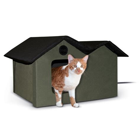 outdoor heated cat bed k h olive and black outdoor heated cat house petco