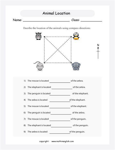 compass worksheet grade describe the location of the animals using compass directions 8 point compass math activity
