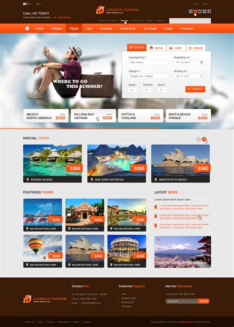 the booking travel psd template by leebrosus themeforest