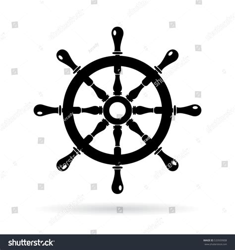 boat icon white boat steering wheel vector icon on stock vector 533939908