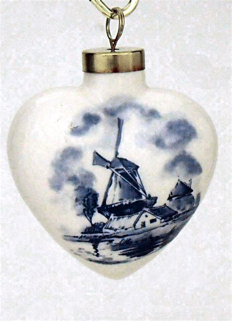 blue and white ceramic delft heart ornament christmas
