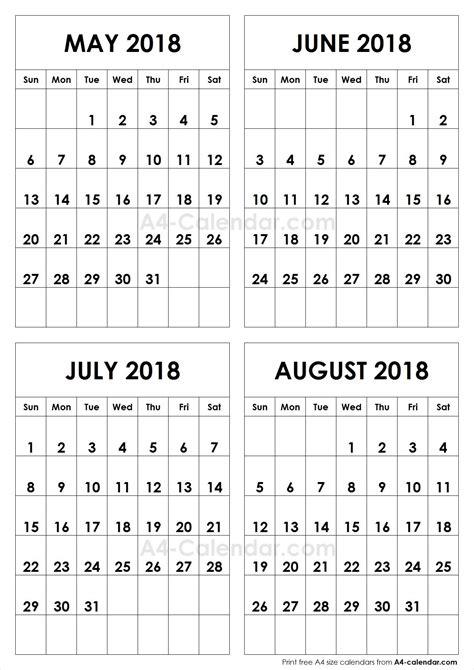 printable calendar june july august 2018 may june july august calendar 2018 happyeasterfrom com