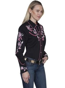 Pied Piper Blk western sleeved blouses collar blouses