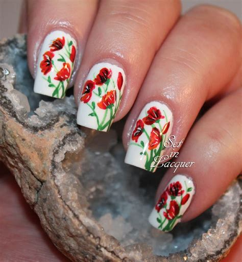 easy nail art poppy design one stroke best 25 floral nail art ideas on pinterest spring nails