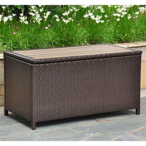outdoor trunk bench international caravan barcelona 42 in resin wicker 80