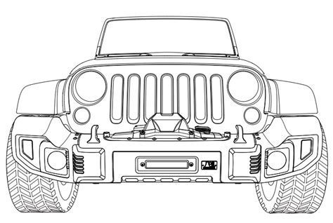 jeep wrangler front drawing jeep wrangler front drawing sketch coloring page