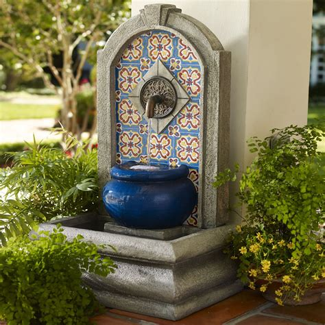 Outdoor Decor Garden Fountains Tuscan Mediterranean Mosaic Colorful Style Water Lawn Garden Decor Outdoor