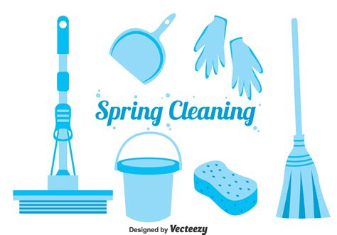 spring cleaning blue spring cleaning icons vector download free vector